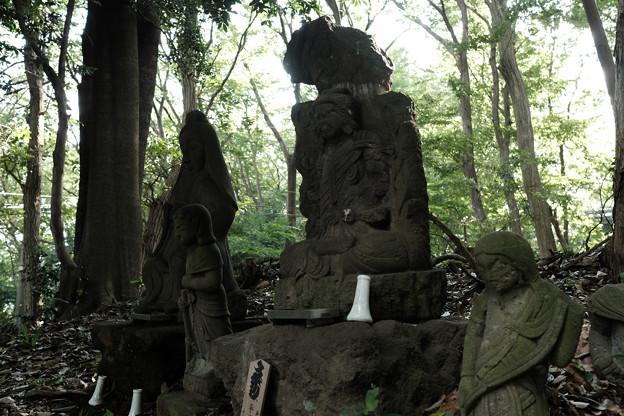 滝の城_08二の郭空堀の石仏-8213