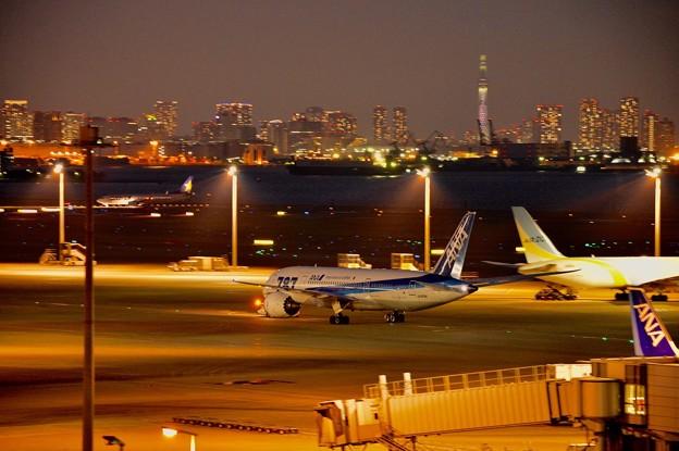 夜の羽田空港と見えるスカイツリー。。20170527
