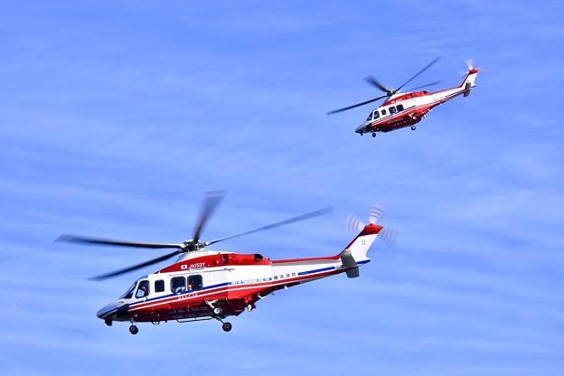 横浜消防出初式。。2機の消防ヘリコプター 20180107