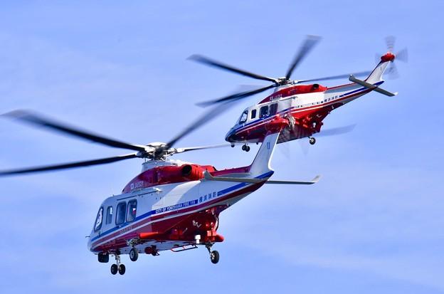 横浜消防出初式。。ど迫力の2機の消防ヘリコプター帰投 20180107