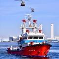 横浜消防出初式。。消防ヘリコプターと消防船 コラボ 20180107