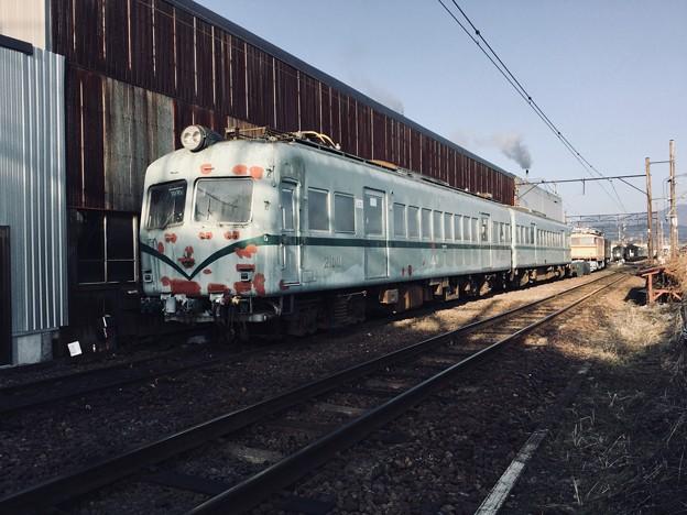 朝の大井川鐵道の新金谷車庫 塗装剥がれて。。元南海 20180120