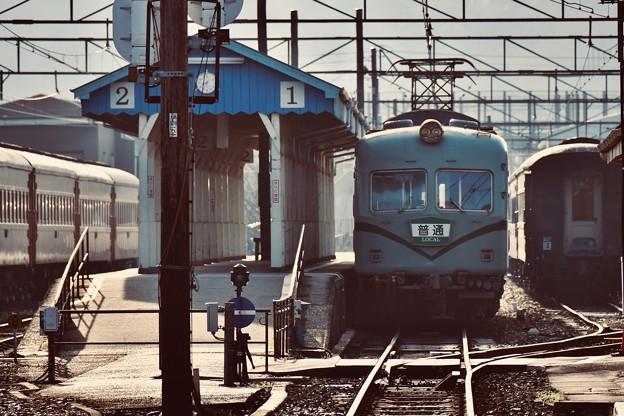 大井川鐵道。。朝の新金谷駅ホームに到着 元南海20000系 20180120