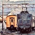 牽引された大井川鉄道 電気機関車E10 新金谷駅ホーム 20180120