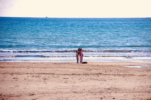 由比ヶ浜で2人で自撮り。。由比ヶ浜 20180127