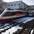 長野電鉄の特急ゆけむり1000系と普通3500系 20180203