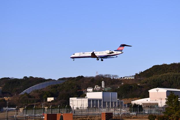 航空祭予行終えて福岡空港へ。。アイベックス機 アプローチ 20180217
