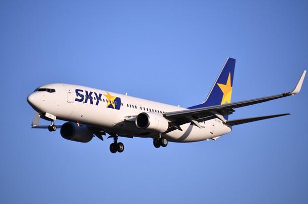 航空祭予行終えて福岡空港へ。。スカイマーク機アプローチ 20180217