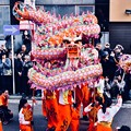 横浜中華街春節。。素早い動きでとぐろ巻く龍舞 20180224