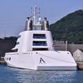 Photos: 撮って出し。。変わった形の船?いやスーパーヨット ロシア富豪 6月2日