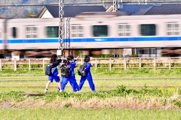 Photos: 夕暮れの田園風景。。小田急線走って行進(^^) 20180407