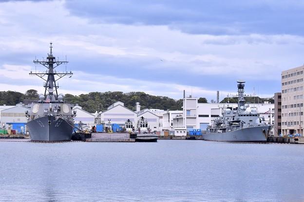 ヴェルニー公園から駆逐艦ステザムとイギリス海運フリゲート艦サザーランド 20180415