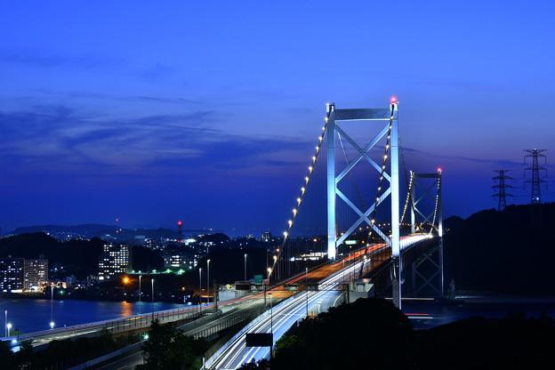 夜景の関門海峡大橋。。めかり公園 20180602