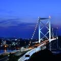 Photos: 夜景の関門海峡大橋。。めかり公園 20180602