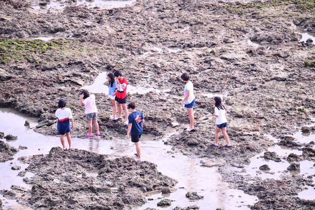 沖縄 瀬長島の海岸で遊ぶ子供達 20180617
