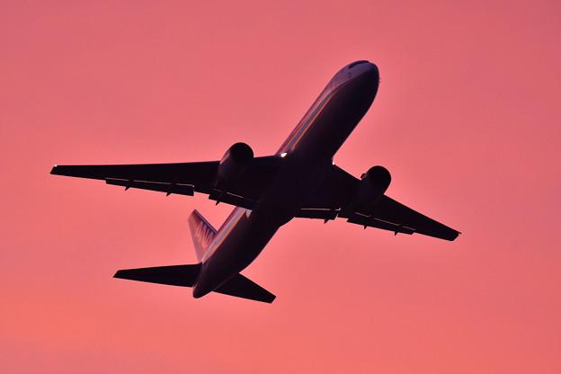 夕焼けの浮島からの旅客機の離陸(5) 20180624