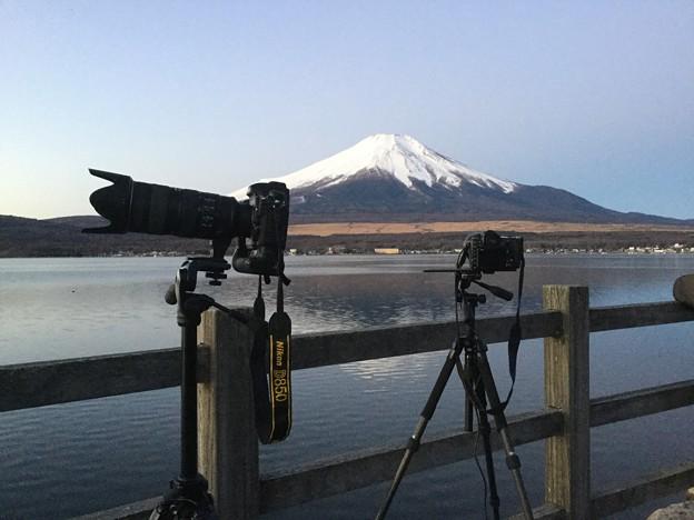 今年も雲全くない富士山拝めて。。夜明け待って 20190104