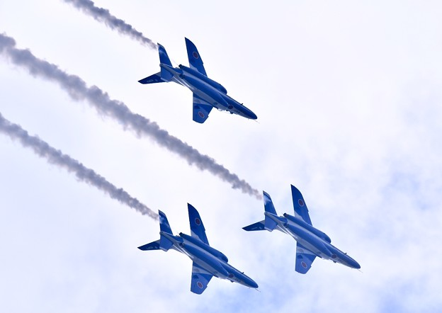 撮って出し やっと3機まで復活したブルーインパルス 松島基地 20190825