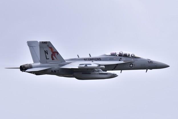 撮って出し 厚木基地 韓国へ向かうVAQ-132スコーピオンズ50周年記念塗装機 (3) 20190429