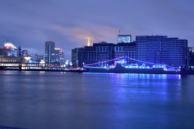 10月の撮って出し。。観艦式で寄港してた中国海軍駆逐艦太原 電灯艦飾(2)