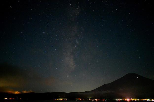 天の川と富士の影