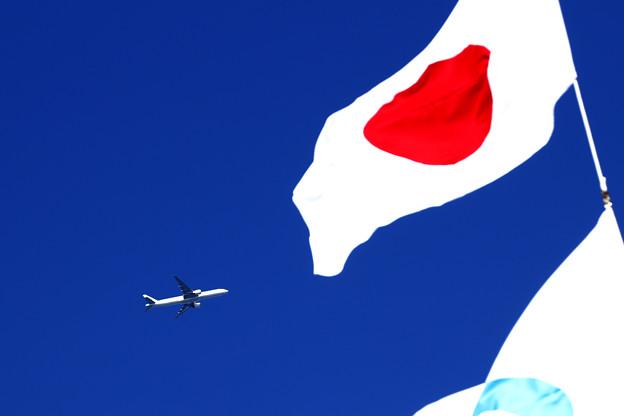 日章旗と大韓航空機