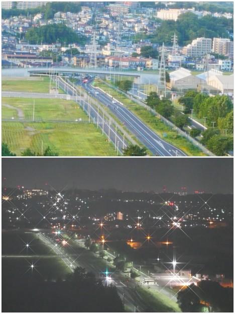 写真: 南北道路昼と夜