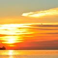 写真: 雲が輝く朝焼けの空