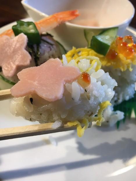 河津桜とガラスアートお雛様44