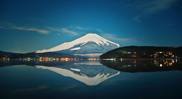 月夜の晩に富士を撮る~山中湖平野~