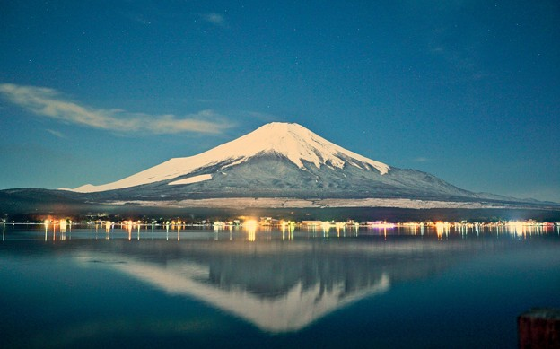 月夜の晩に富士を撮る ~山中湖長池~