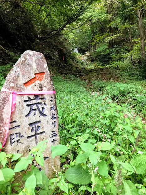 荿平谷滝(二段滝)石標
