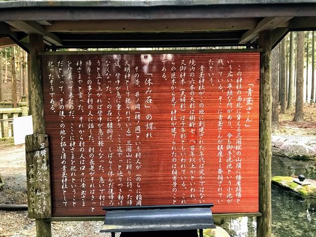 Photos: 「青玉さん」「休み石」 案内板