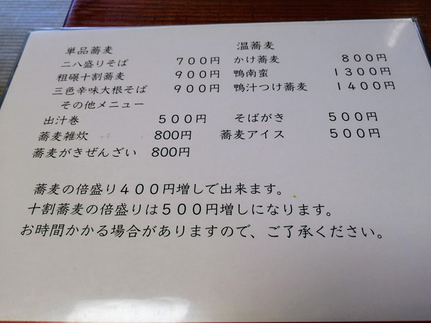 そばんち メニュー(単品)