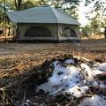 まだ雪が残ってるキャンプ場