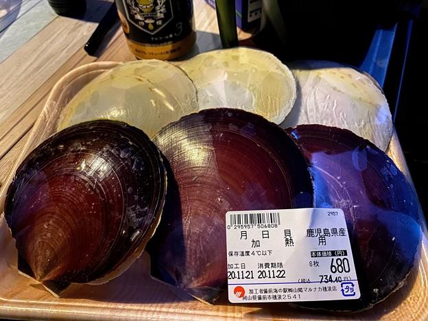 ホタテと悩んで月日貝を購入