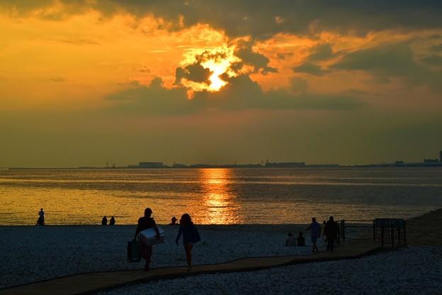 りんくう公園マーブルビーチの夕焼け