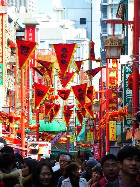 春節祭で賑わいをみせる南京町