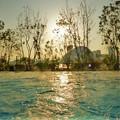 夕日に照らされる水面
