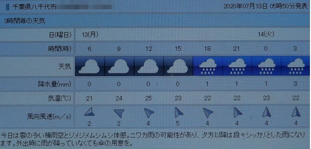 Photos: 2020/07/13(月)・八千代市の天気予報