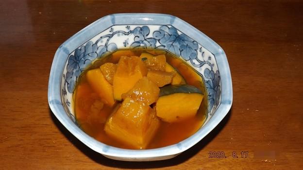 2020/08/17(月)・畑のかぼちゃで1/4を使用して「かぼちゃの煮物」を作る