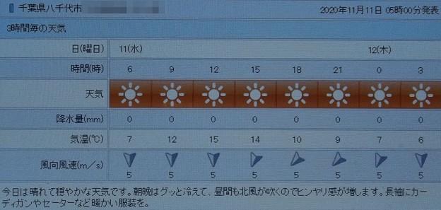 Photos: 2020/11/11(水)・千葉県八千代市の天気予報