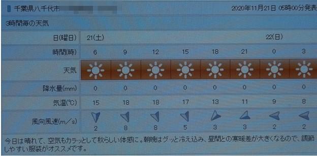 Photos: 2020/11/21(土)・千葉県八千代市の天気予報