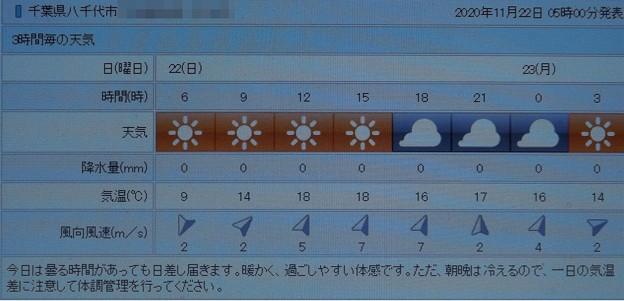 Photos: 2020/11/22(日)・千葉県八千代市の天気予報
