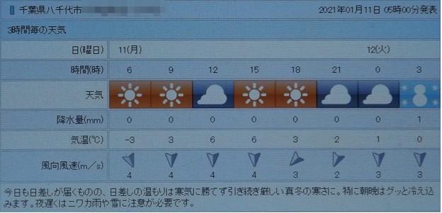 2021/01/11(月・祝)・千葉県八千代市の天気予報