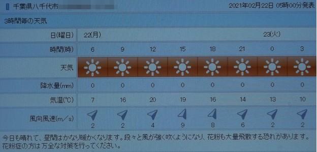 2021/02/22(月)・千葉県八千代市の天気予報