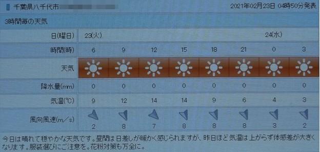 2021/02/23(火・祝)・千葉県八千代市の天気予報
