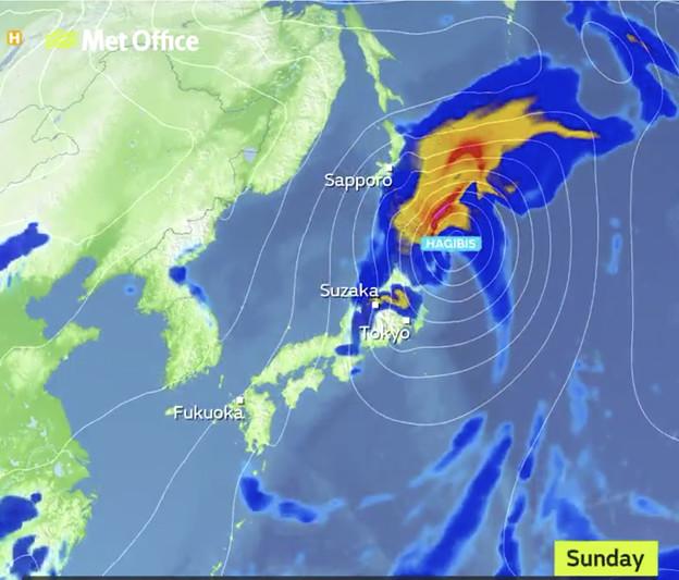 10月11日のイギリスによる日本の台風進路予想
