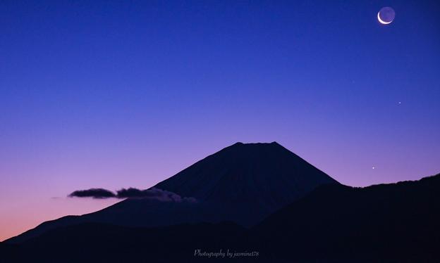 地球照・三日月・水星・土星・富士山