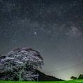 写真: 水目桜と天の川と流星